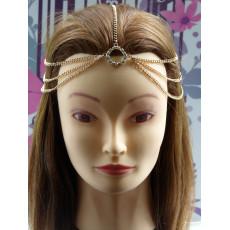 Fashion European Style Gold Plated Tone Rhinestone Round Tassel Hair Band F-0109