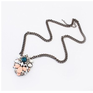 2013 New Brand Retro Crystal Flower Chain Pendant Necklace N-3052