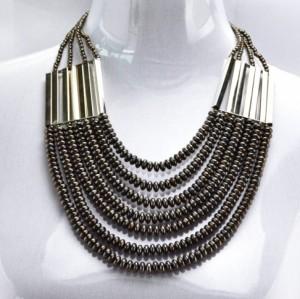 Hot Fashion Gun Black/Golden Chain Beads Pendants Choker Necklaces N-1358