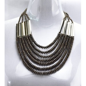 Hot Fashion Gun Black/Golden Chain Beads Pendants Choker Necklaces N-1358