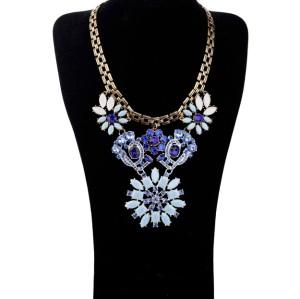 Vintage Style Metal Rhinestone Crystal Resin Gem Flower Pendants Choker Necklaces N-3055