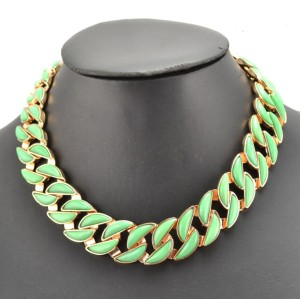 Europe Style Gold Plated Metal resin gem link chain Choker Necklaces N-1621