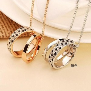 new fashion silver/gold plated alloy  rhinestone double rings circles pendant Necklace N-2380