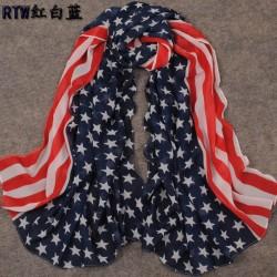 New European Style Fashion star stripe flag design  chiffon scarf 150cm*65cm C-0036