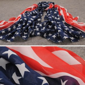 New European Style Fashion star stripe flag design  chiffon scarf 150cm*65cm C-0036