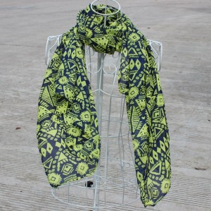 New Fashion Style geometry yellow design chiffon scarf 160cm*70cm C-0037