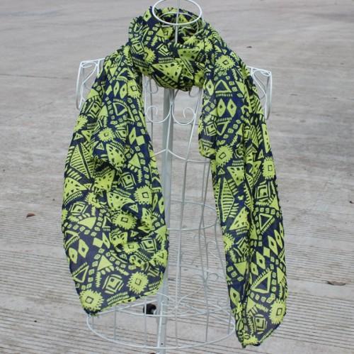 New Fashion Style geometry yellow design chiffon scarf 160cm*70cm C-0037