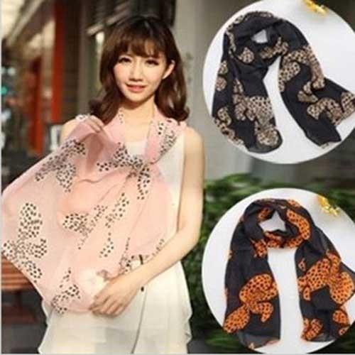 The New 2013 Korea Style lovely chiffon scarf jacquard big bowknot scarves female shawl C-0046