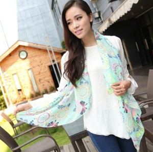 Fashion Colorful Heart-shaped flowers butterflies dragonflies graffiti Scarves Wrap for Women C-0048