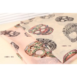 New Style skull beige/pink color chiffon Long shawl  dual action scarf C-0043