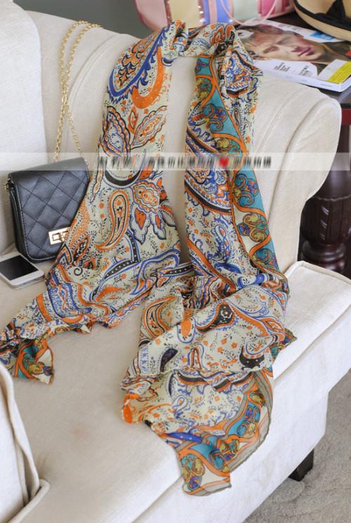 Elegent Fashion Vintagecashew nut  Paisley Print Long Voile Fabric Slik Soft Scarf C-0040