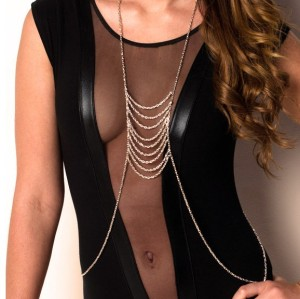 New European-style  silver plated chain tassels Body Chain Necklace N-3060