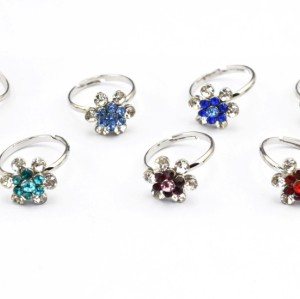 Charms Jewelry Silver Plated alloy rhinestone small flower ring adjustable