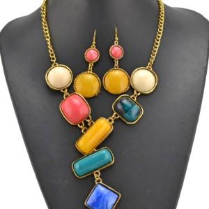 vintage style golden metal resin gem candy pendant necklace N-3067