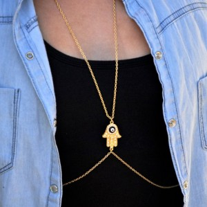 Europe style gold plated chain rhinestone blue enamel eye Fatima hand body chains necklace N-3062
