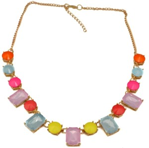 Europe style gold plated chain colorful resin gem crystal necklace N-3069