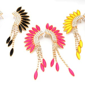 Fashion  gold plated alloy acrylic feather shape rhinestone tassels ear stud earrings E-2126