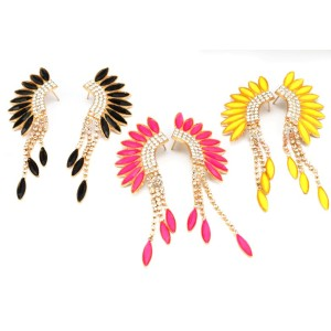 Fashion  gold plated alloy acrylic feather shape rhinestone tassels ear stud earrings E-2126