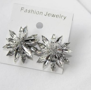 Fashion silver plated alloy clear crystal flower ear stud earrings E-2065