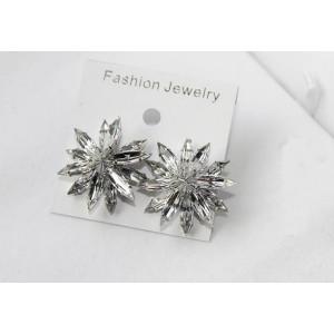 Fashion silver plated alloy clear crystal flower ear stud earrings E-2065