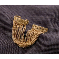 R-1091 Europe Style gold plated alloy tassels double fingers opened ring