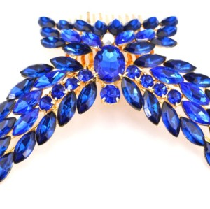 F-0116Fashion gold plated alloy green blue crystal leaf wing butterfly Hair Comb