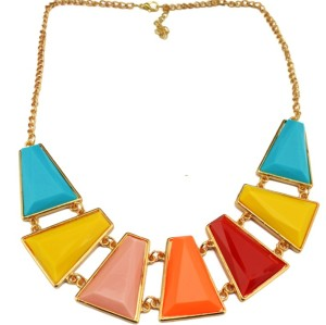 N-4276 Fashion Jewelry  gold plated alloy trapezoid geometry resin gem choker necklace