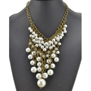VintageStyle Bronze Alloy Chain Pearl Tassels Necklace N-1624