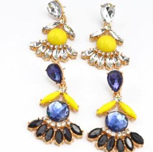 Fashion gold plated alloy drop crystal flower ear stud earrings E-2067