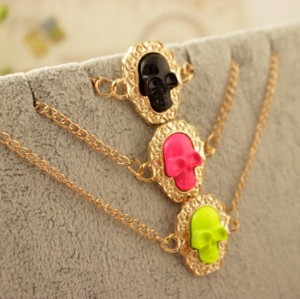 B-0317 New Arrive fashion  Style gold plated chain 3 colors skull head bracelet