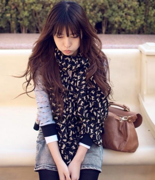 C-0051 new in fashion style black khaki 2 colors chiffon cat design scarf shawl