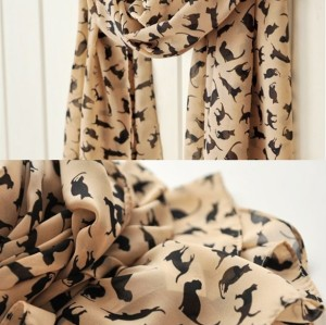 C-0051 new in fashion style black khaki 2 colors chiffon cat design scarf shawl