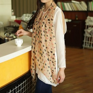 C-0053 Korea fashion style pink black khaki 3 colors chiffon love heart design scarves shawl
