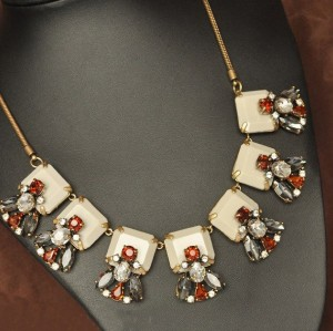 N-3077 NEW Punk Collar Rhinestone Crystal Neon Bib Statement Necklace Fashion Gift For Women