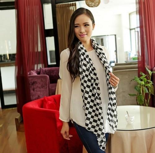 C-0052 Korea fashion style pink black khaki 3 colors chiffon geometry grid scarf design scarves shawl
