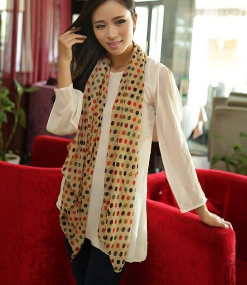 C-0055New arrival korea style autumn winter colourful round dot chiffon scarf