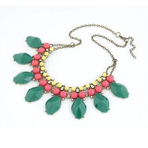 Europe vintage style bronze alloy resin gem tassels rhinestone pendant necklace N-3065
