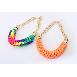 New Fashion Style  Gold Plated Link Chain Ribbon Weave Choker Necklace N-1626