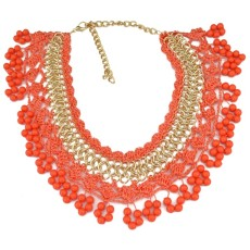 New Fashion Style  Gold Plated Link Chain  Weave Lace Beads Tassels Choker Necklace N-3080