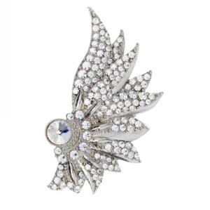 Fashion silver plated alloy clear rhinestone wing stud earrings ear clip E-2069