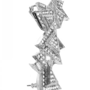 Fashion silver plated alloy clear rhinestone geometry stud earrings ear clip E-2068