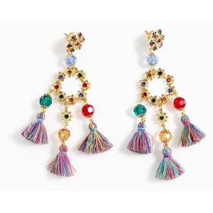 Bohemia style gold plated alloy rhinestone enamel acrylic beads tassels flower dangle earring E-1692