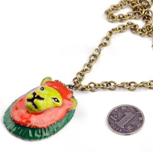 Europe Style bronze Chain green gold-plated fluorescent slideable pendant lion statement necklace  N-3419