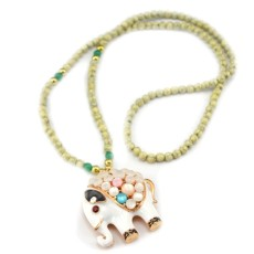 New Gold plated white cat eye stone fat cute elephant Pendant Long Necklace N-3417