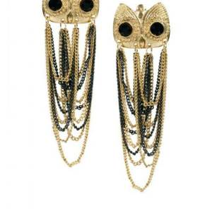 E-2073 Europe style golden black chain tassels owl stud earrings