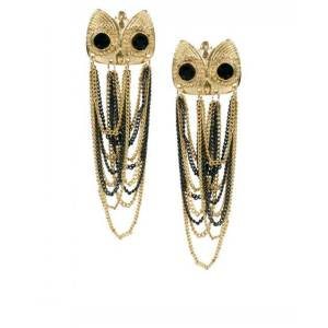 E-2073 Europe style golden black chain tassels owl stud earrings