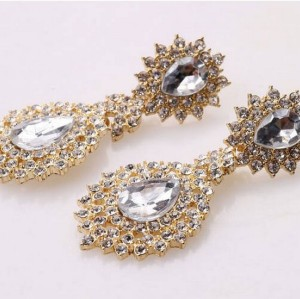 E-2071 Europe style gold plated alloy clear rhinestone crystal drop dangle stud earrings