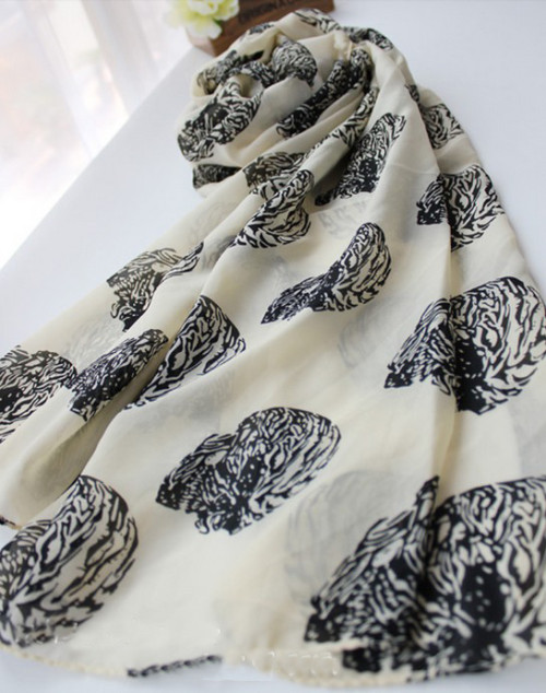 Korea fashion style white black khaki 3 colors Silk chiffon skeleton head square scarves shawl C-0059
