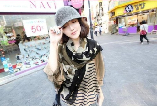 Korea fashion styles Silk chiffon star scarves shawl C-0056