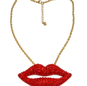 New European Red Crystal Stud Lips Pendant Necklace N-2909